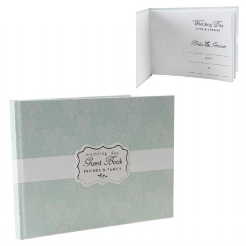 Wedding Guest Book - Pale Soft Mint Green Wedding Accessories - Love and Cherish  Wedding Guest Book 50 Pages